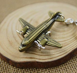Propeller Twin Engine Airplane Keychain