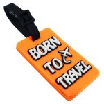 Born To Travel Luggage Tag Orange Color