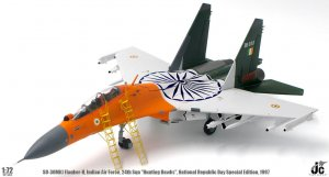 "Indian Air Force Sukhoi SU-30MKI Flanker-H, 24th Sqn ""Hunting Hawks"", National Republic Day Special Edition, 1997 Diecast Metal Aircraft Model 1/72 Scale Jcwings"