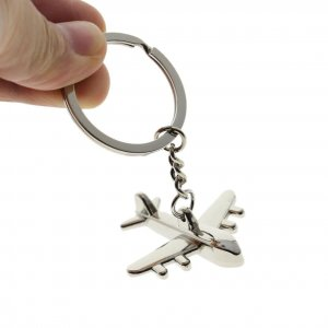 Small Silver Metallic Airplane Keychain
