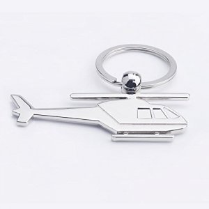Helicopter Metal Plane Keychain