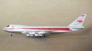 TWA(Trans World Airlines) Boeing 747-131 N93103 1/400 Scale Diecast Metal Aircraft Model Geminijets GJTWA043