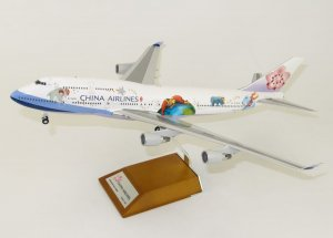 "China Airlines Boeing 747-400 ""Jimmy"" Reg B-18203 With Stand 1/200 Scale Diecast Airplane Model Jcwings XX2359"