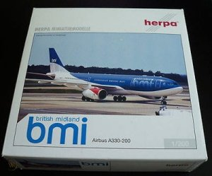 BMI British Midland Airlines Airbus A330-200 Reg G-WWBM 1/200 Scale Hard Plastic Aircraft Model Herpa HE550451