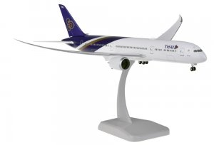 Thai Airways Boeing 787-9 Dreamliner REG HS-TWA INFLIGHT Configuration with gears and stand 1.200 scale Aircraft Model Hogan HG11151