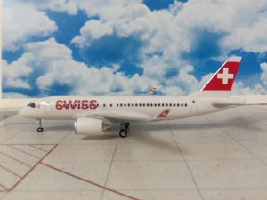 Swissair Bombardier CS100 1/200 Scale Aircraft Model With Gears and Stand