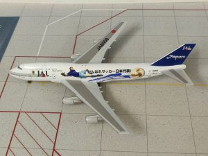JAL Japan Airlines Boeing 747-400D WORLD CUP 2002 JA8908 1/400 Scale Diecast Aircraft Model Herpa