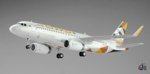 Etihad Airways Airbus A320 NC A6-EJA 1/200 Scale Diecast Metal Aircraft Model Jcwings