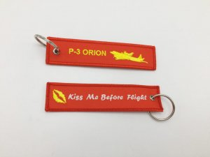 P3 ORION/KISS ME BEFORE FLIGHT KEYRING RED COLOR