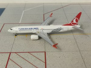 Turkish Airlines Boeing 737 Max 1/400 Scale Diecast Metal Aircraft Model Aeroclassics AC419505